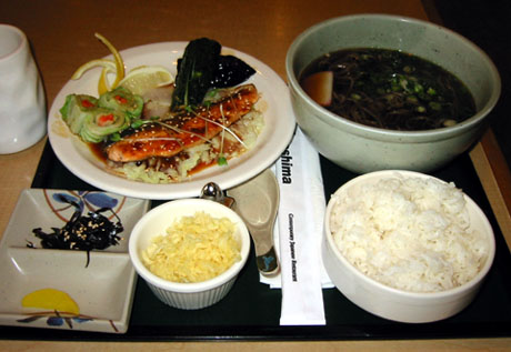 Grilled Salmon Combination with hot soba for $13.99.