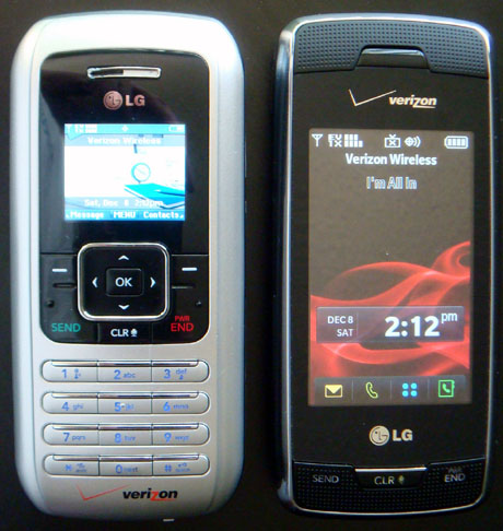 Pictured above: Left - Verizon EnV (LG VX9800), Right - Verizon Voyager (LG VX10000)