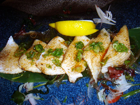 Yaki Hama $19.50 (Sliced seared Yellowtail with garlic-ginger ponzu sauce)