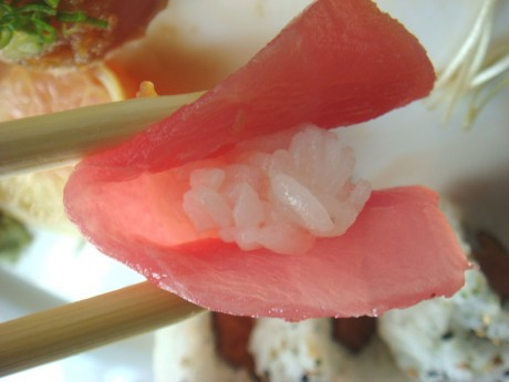 Close-up of Tuna Nigiri. Notice the size of the rice