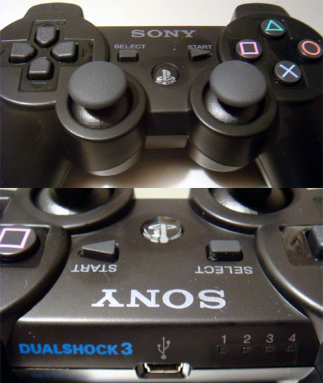 Dualshock 3 user POV (top), front with mini USB plug (bottom)