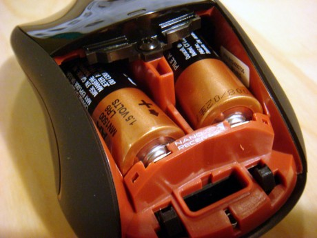 Battery compartment and receiver storage spot