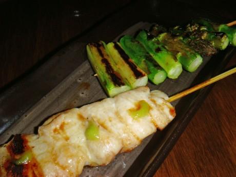Yakitori - $2, Asparagus - $1.80