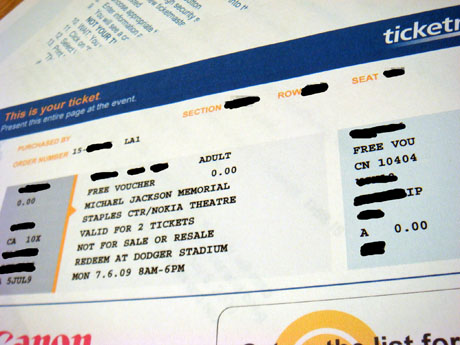 Michael Jackson Memorial Tickets