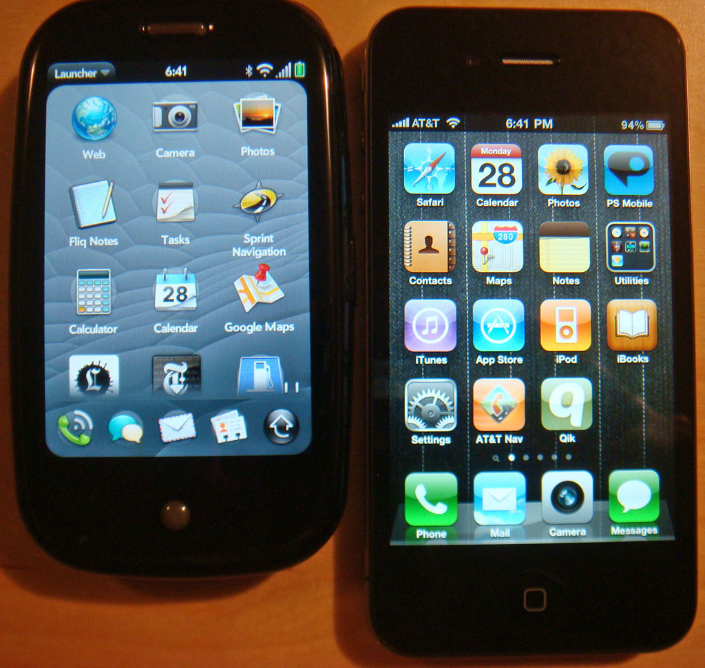 Palm Pre (left), iPhone 4 (right)