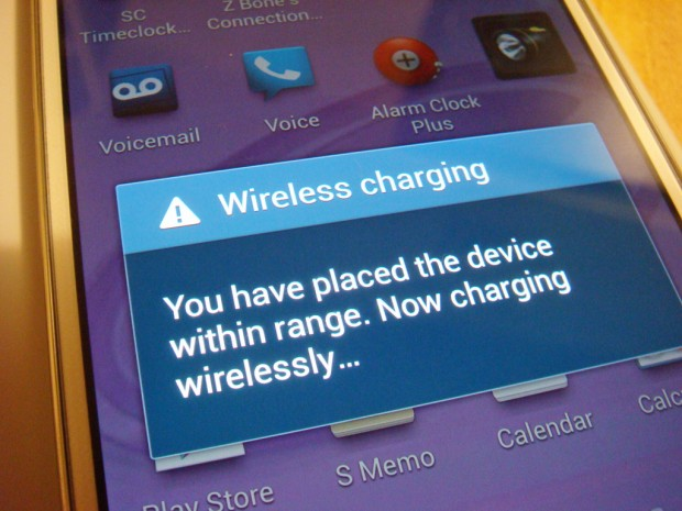 Samsung Galaxy S4 wireless charging message
