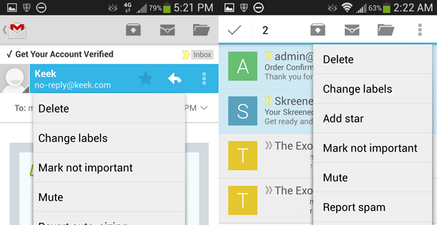 how to delete multiple emails in gmail on android