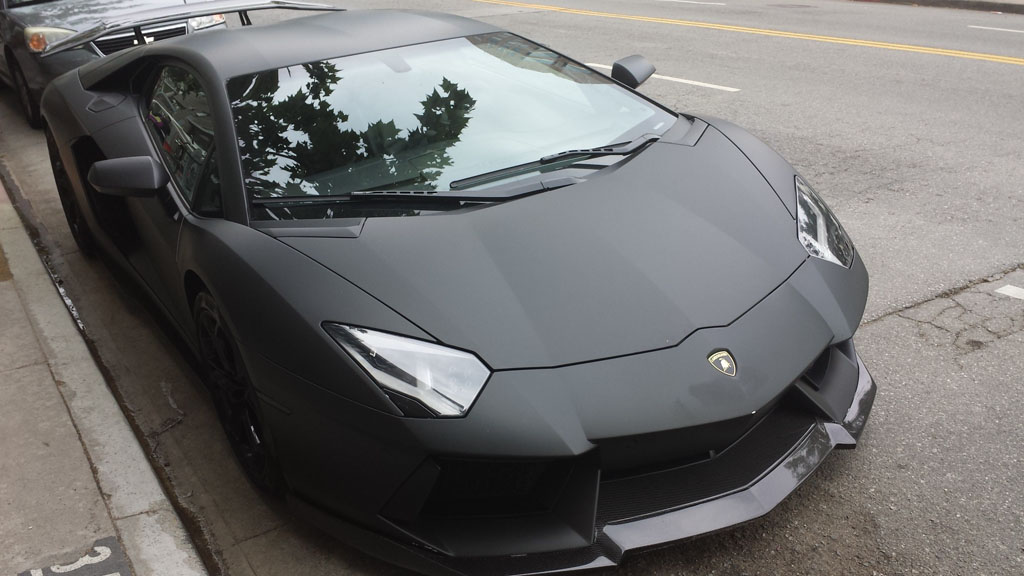 Matte Black Lamborghini Aventador In The Wild
