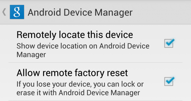 android device manager setting