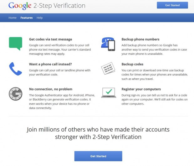google 2 step features