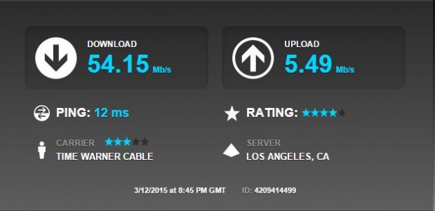 time warner cable speed